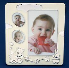 Baby Photo Frame Silver 3 Hole Collage Newborn Girl Boy Baby Shower Gift Present