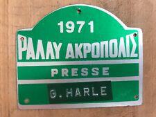 1971 RARE & ORIGINAL ACROPOLIS RALLY Press Miniature Plate