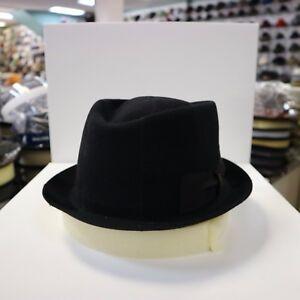 BORSALINO BLACK PATCH WORK TRILBY FUR FELT FEDORA DRESS HAT