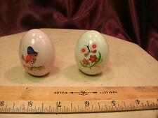Set 2 Glazed Ceramic Easter Eggs-hollow-flower w/butterfly-bird on saw-free ship