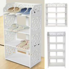 Wooden White 3/4/5 Tiers Shoe Rack Storage Shelf Display Stand Organiser Unit