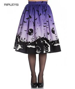 Hell Bunny 50s Halloween Graveyard HAUNT Skirt Purple Black Bats XS 8 LAST ONE