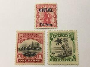 old stamps  AITUTAKI   x  3