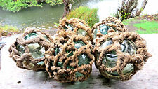 "Japanese Fishing Floats FIVE 3+"" Aqua Blue Green ROUGH STOCK NET Ocean Vintage"