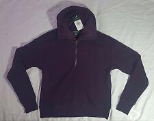 NEW Lauren Ralph Lauren Soft Velour Lined Pullover Zip Sweatshirt  PURPLE Small