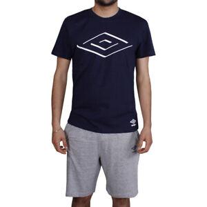 Pigiama Uomo Umbro 2 Pezzi Cotone Pantaloncini Grigio T-shirt Mezza Manica Blu