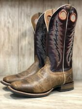 Ariat Men's Branding Pen Tobacco Toffee & Maroon Square Toe Boots 10023128