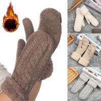 Twist Flowers Full Finger Gloves Knitting Wool Female Guantes Women Mittens