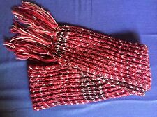 Wool Pink/Maroon/Brown Color Hand Knit Bohemian Warm Muffler Scarf