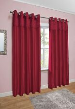 Crushed Velvet Band Curtains - Faux Silk - Eyelet Ring Top - Fully Lined