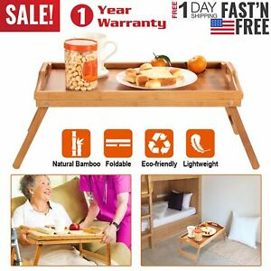 Bamboo Bed Tray Foldable Lap Desk Portable Laptop Breakfast Food Dinner Table