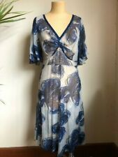 TRELISE COOPER FLORAL PRINT SILK TEA DRESS (labelled size 14)