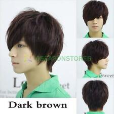 Fashion Man Neutral Short Full Wig Dark Brown Straight Wig Cosplay Toupee Hair