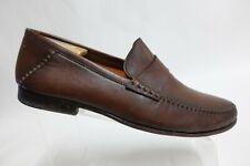 SANTONI Strap Brown Sz 11.5 D Men Leather Penny Loafers