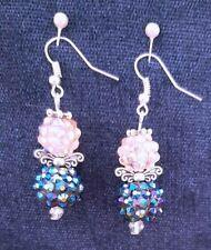 Angel Drop Earrings Blue + Pink Shamballa Beads - Disco - Xmas - Party