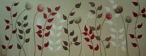 ORIGINAL ABSTRACT CANVAS PAINTING ARTWORK FLOWERS LEAVES RED DEES FUNKY ART