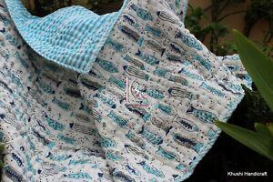 Fish Animal Printed Baby Quilt, Newborn Baby Comforter, Hand Print Crib Cot Set