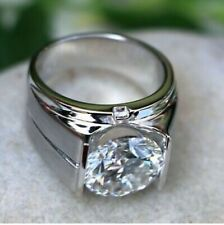 3.50ct Moissanite Diamond Men's Solitaire Engagement Ring 925 Sterling Silver