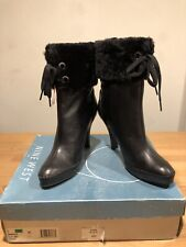 Nine West Makala Black Leather Heeled Ankle Boots Faux Fur!UK7! New! Only£39,90!