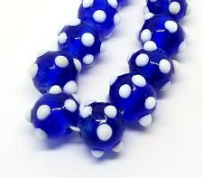 "7.5"" Strand Vintage Handmade Lampwork Round Glass Beads Cobalt Blue White Dots"