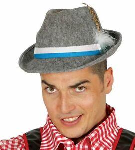Mens Grey Oktoberfest Hat Bavarian German Beer Festival Fancy Dress Accessory