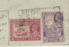 EGYPT-BURMA Rare British Occupation Stamps Tied Airmail Letter Send Cairo 1947