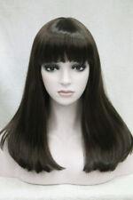 NEWJF1361 medium long dark brown health bang style hair wigs women straight wig