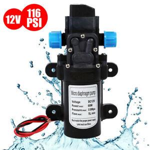 12V 130PSI High Pressure Diaphragm Self Priming Water Pump Caravan Wash 5L/Min