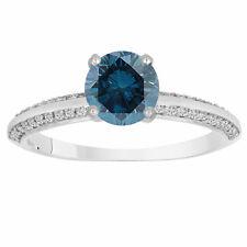 Platinum 1.51 Ct Enhanced Fancy Blue Diamond Engagement Ring Bridal Micro Pave