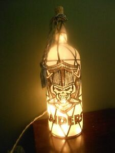 Raiders Skull Inspiered Hand Painted Lighted Wine Bottle Stained Glass look