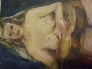 VINTAGE NUDE PAINTING   10X131/2  ON very thick BOARD NICE WORK  VERY OLD