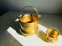 *2* Vintage Brass Hammered Footed Bowl Pot Planter Center with Handles