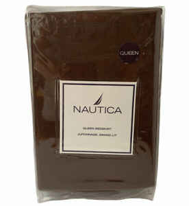 "Nautica Queen Size Bed Skirt Dust Ruffle Fairfield Bedding Brown 16"" Drop NEW"