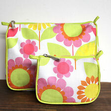 2IN1 CLINIQUE BRIGHT FLORAL PRINT TOP ZIP MAKEUP PURSE CASE CLUTCH COSMETIC BAG