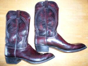 Lucchese Men's Cowboy Boots Leather Black Cherry Handmade 12.5 C 5L029 L660C