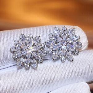 Fashion Stud Earrings for Women 925 Silver Cubic Zirconia Wedding Jewelry Gift