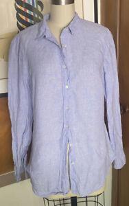 J CREW Sz 6t Slim Perfect Shirt Blue Irish Linen Baird McNutt Womens