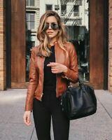Ladies Women Girls Genuine Real Leather Slim Fit Brown Biker Jacket