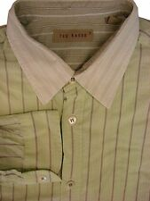 TED BAKER Shirt Mens 15.5 M Green - Stripes