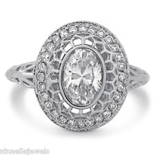 OVAL CUT DIAMOND ENGAGEMENT RING ANTIQUE STYLE O8 1.28CTW