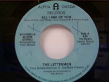 """LETTERMEN """"ALL I ASK OF YOU / WHY I LOVE HER"""" 45"""
