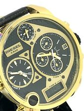 Diesel Mr. Daddy Oversized Gold Steel Black Leather Chronograph Watch DZ7323