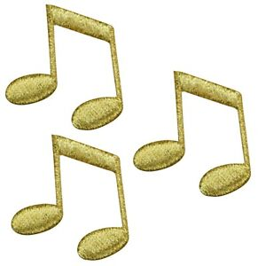 """Double Note Applique Patch - Metallic Gold, Sheet Music 1.5"""" (3-Pack, Iron on)"""