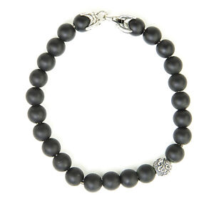 DAVID YURMAN Men's Matte Black Onyx Spiritual Accent Bead Bracelet $495 NEW