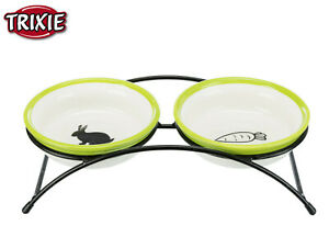 TRIXIE SMALL ANIMAL RABBIT CERAMIC DOUBLE DINER FOOD WATER BOWL 2 X 300ML 60750