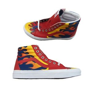 Vans Racer Sk8-Hi Sneakers Red Yellow Blue Flame Mens Size 10.5 NEW VN0A32QG4RQ