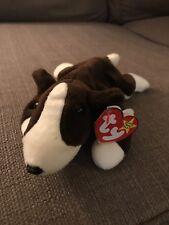 TY Beanie Babies BRUNO Bull Terrier DOG Puppy BROWN White 1997 Original RETIRED