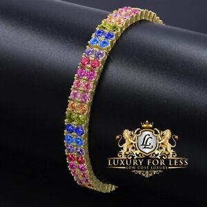 Rainbow Multi High Quality AAA+ Grade Simulated Diamond Gold Tone 2 Row Bracelet