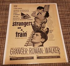 Vintage 1951 Strangers on a Train Movie Ad Alfred Hitchcock 50's Throw Momma