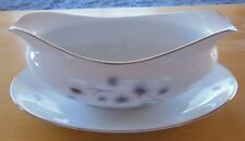 Creative Fine China Gravy Boat with attached Oval Plate Silver Trim #1014 Japan